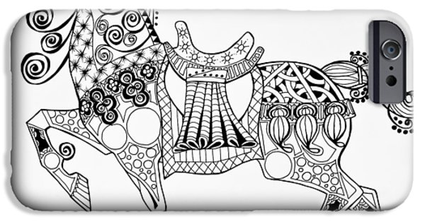 Freimann iPhone Cases - The Kings Horse - Zentangle iPhone Case by Jani Freimann