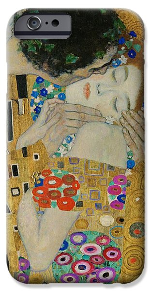 1907 Paintings iPhone Cases - The Kiss detail iPhone Case by Gustav Klimt