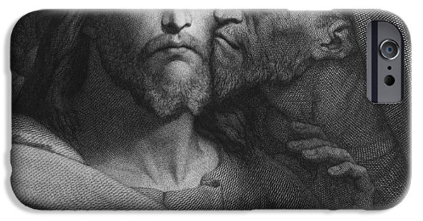 Christ Drawings iPhone Cases - The Kiss of Judas iPhone Case by Ary Scheffer