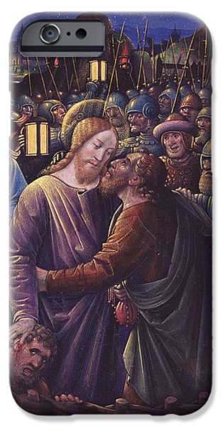 Arrest iPhone Cases - The Kiss Of Judas, End Of 15th Century Vellum iPhone Case by Jean Bourdichon
