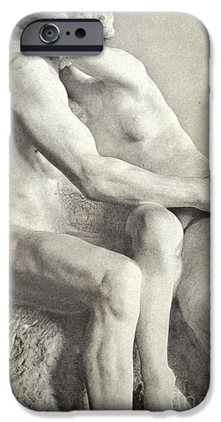Couple Sculptures iPhone Cases - The Kiss iPhone Case by Rodin Auguste