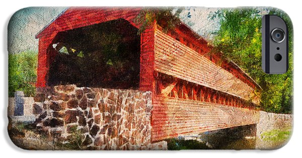 Covered Bridge iPhone Cases - The Kissing Bridge iPhone Case by Lois Bryan