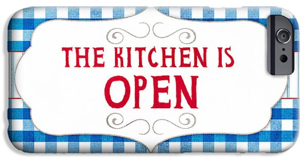 Shower iPhone Cases - The Kitchen Is Open iPhone Case by Linda Woods