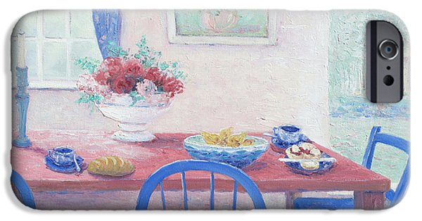 Interior Still Life iPhone Cases - The kitchen table laid for lunch iPhone Case by Jan Matson