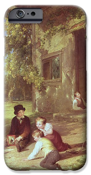 Cat Reflection iPhone Cases - The Kitten Deceived, 1816 Oil On Canvas iPhone Case by William Collins