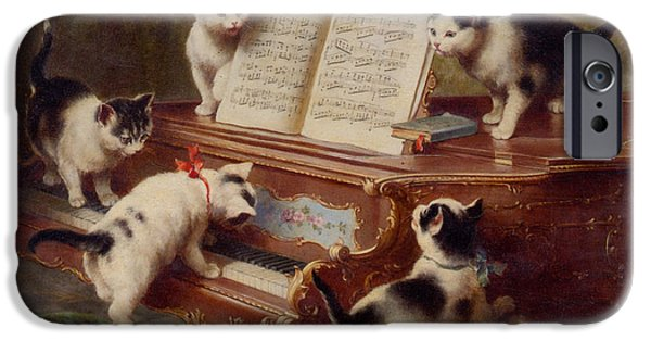 Piano iPhone Cases - The Kittens Recital iPhone Case by Carl Reichert