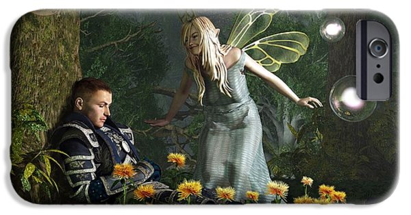 Fay iPhone Cases - The Knight and the Faerie iPhone Case by Daniel Eskridge