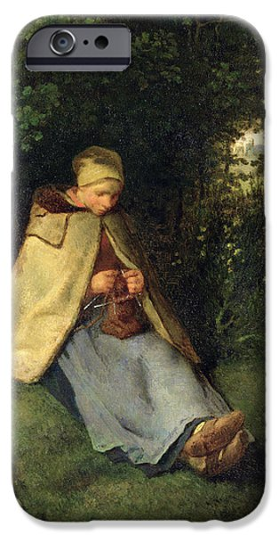 Young iPhone Cases - The Knitter Or, The Seated Shepherdess, 1858-60 Oil On Canvas iPhone Case by Jean-Francois Millet
