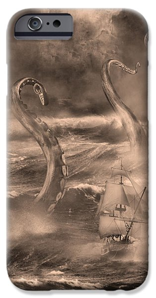 Pirate Ship Mixed Media iPhone Cases - The Kraken Unleashed iPhone Case by Renato Saltori
