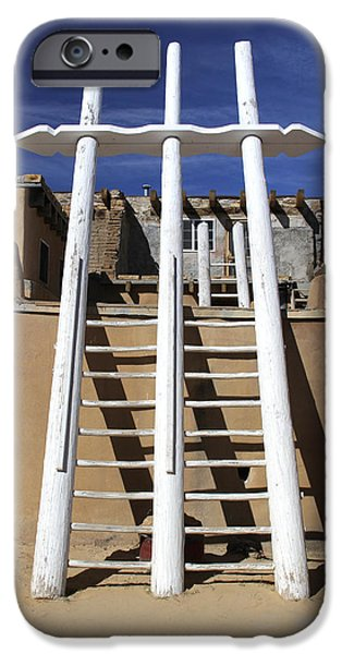 Pueblo iPhone Cases - The Ladder Acoma Pueblo iPhone Case by Mike McGlothlen