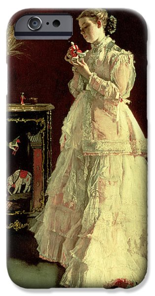 Laces iPhone Cases - The Lady In Pink, 1867 Oil On Panel iPhone Case by Alfred Emile Stevens