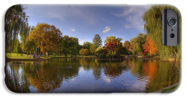 Massachusetts Autumn Scenes iPhone Cases - The Lagoon - Boston Public Garden iPhone Case by Joann Vitali