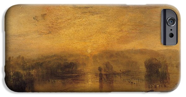 Swans... iPhone Cases - The Lake, Petworth Sunset, A Stag Drinking, C.1829 iPhone Case by Joseph Mallord William Turner