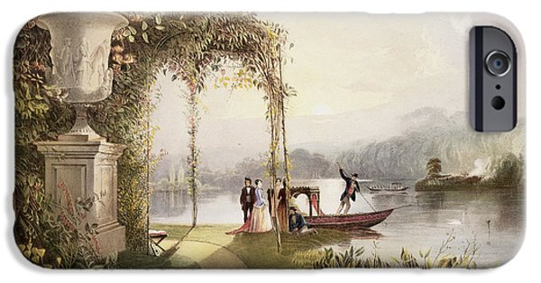 Punting iPhone Cases - The Lake  Trentham Hall Gardens iPhone Case by E Adveno Brooke
