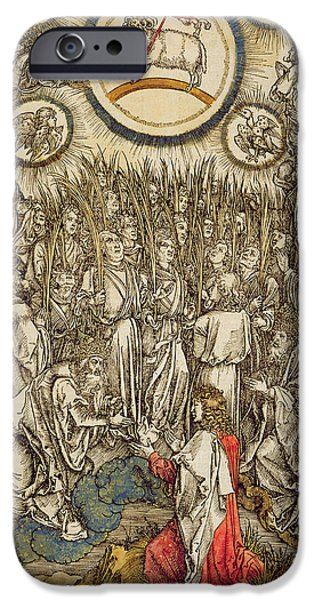 Evangelist iPhone Cases - The Lamb Of God Appears On Mount Sion, 1498 Colour Woodcut iPhone Case by Albrecht Dürer or Duerer