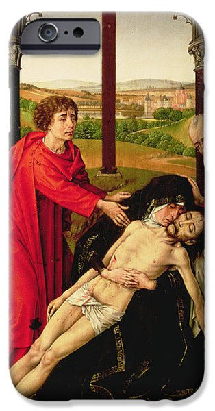 St John The Evangelist Paintings iPhone Cases - The Lamentation of Christ iPhone Case by Rogier van der Weyden