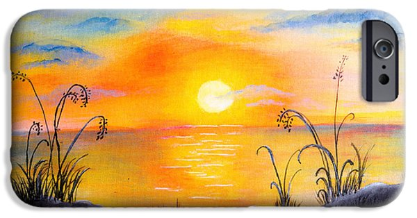 Sun Rays Drawings iPhone Cases - The land of the dying sun iPhone Case by Nirdesha Munasinghe