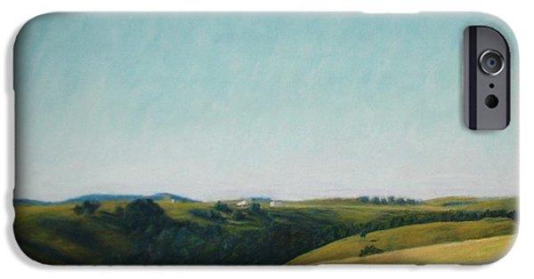 Farm Landscape Pastels iPhone Cases - The Land iPhone Case by Serena Dawson