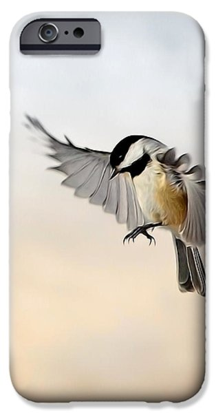 Chickadee iPhone Cases - The landing iPhone Case by Bill  Wakeley