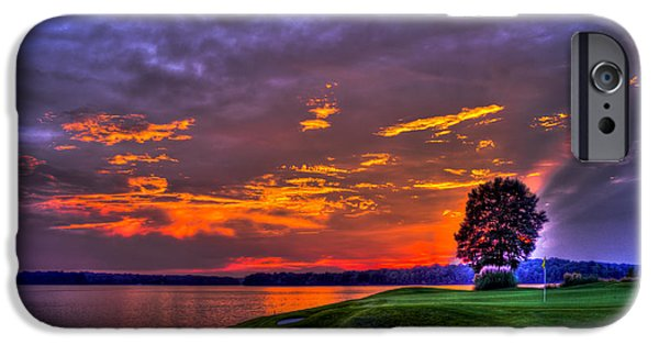 The Tiger iPhone Cases - The Landing Golf Sunset on Lake Oconee  iPhone Case by Reid Callaway