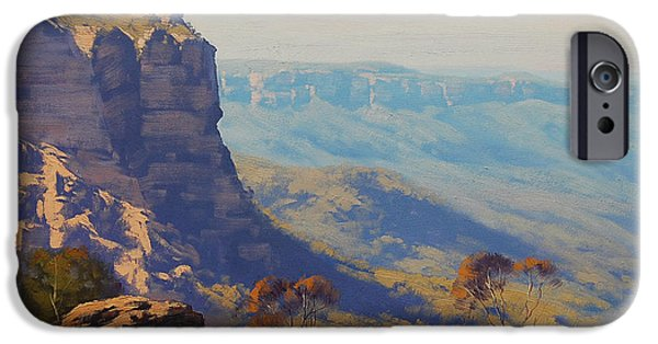 Sisters Paintings iPhone Cases - The Landslide Katoomba iPhone Case by Graham Gercken