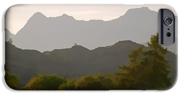 Silhoette iPhone Cases - The Langdales from Tarn Hows iPhone Case by Tess Baxter
