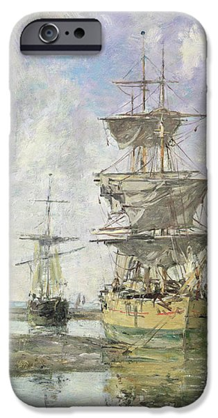 Boat iPhone Cases - The Large Ship iPhone Case by Eugene Louis Boudin