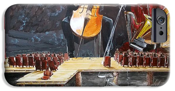 Concept Paintings iPhone Cases - The Last Concert listen with music of the description box iPhone Case by Lazaro Hurtado