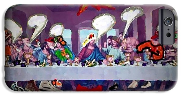 D.c. Mixed Media iPhone Cases - The Last Last Supper iPhone Case by Lisa Piper Menkin Stegeman