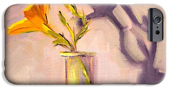 """indoor"" Still Life Paintings iPhone Cases - The Last Lily iPhone Case by Nancy Merkle"