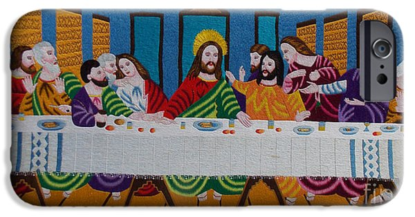 Religious Tapestries - Textiles iPhone Cases - The Last Supper hand embroidery iPhone Case by To-Tam Gerwe
