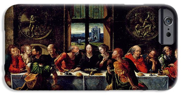 Disciples Paintings iPhone Cases - The Last Supper iPhone Case by Pieter Coecke van Aelst