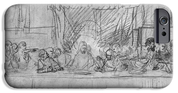 Rembrandt Drawings iPhone Cases - The Last Supper iPhone Case by Rembrandt Van Rijn