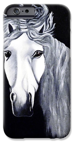 Unicorn Art Greeting Card iPhone Cases - The Last Unicorn iPhone Case by Alys Caviness-Gober