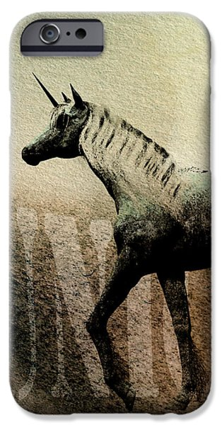 Moody Paintings iPhone Cases - The Last Unicorn iPhone Case by Bob Orsillo