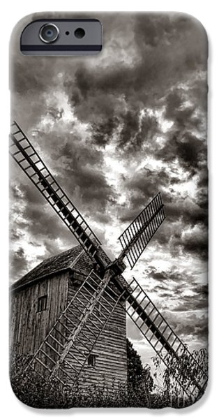 Windmills iPhone Cases - The Last Windmill iPhone Case by Olivier Le Queinec