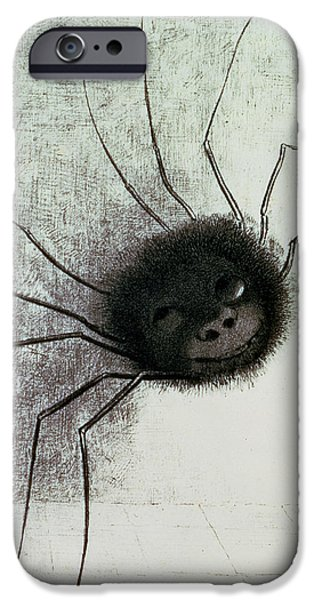 Creepy Drawings iPhone Cases - The Laughing Spider iPhone Case by Odilon Redon