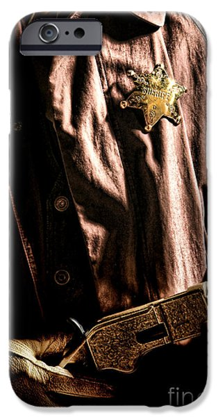 Sheriff iPhone Cases - The Law iPhone Case by Olivier Le Queinec
