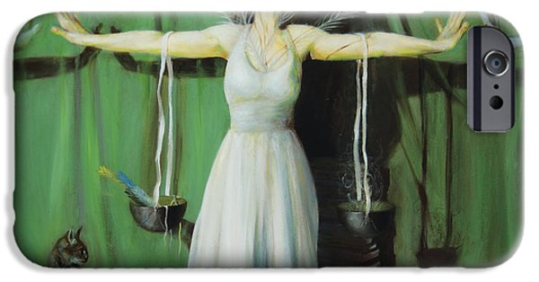 Spiritual Portrait Of Woman iPhone Cases - The Leaver iPhone Case by Shelley  Irish