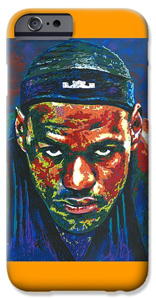 Miami Heat iPhone Cases - The LeBron Death Stare iPhone Case by Maria Arango