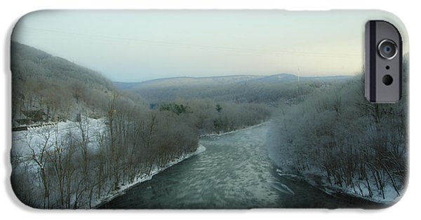Wintertime iPhone Cases - The Lehigh River - Jim Thorpe Pa iPhone Case by Bill Cannon