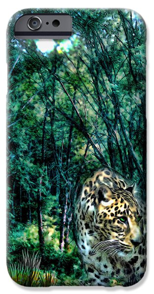 Forest iPhone Cases - The Leopard is Hungry iPhone Case by Tyler Robbins