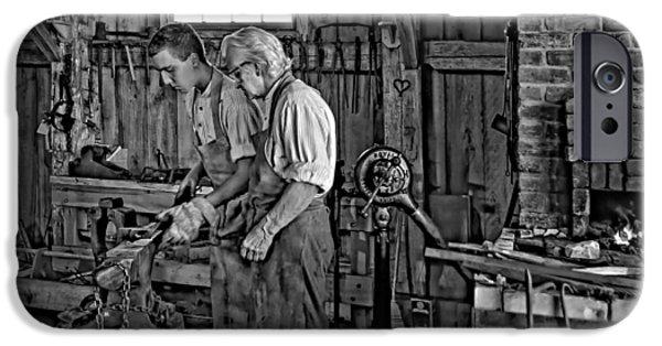 Antique Ironwork iPhone Cases - The Lesson monochrome iPhone Case by Steve Harrington
