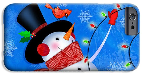 Snow Scene iPhone Cases - The Letter S for Snowman iPhone Case by Valerie   Drake Lesiak