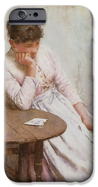 Depression Paintings iPhone Cases - The Letter  iPhone Case by Walter Langley
