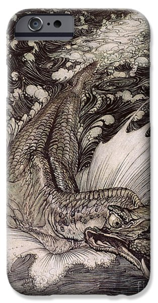 Ocean Drawings iPhone Cases - The Leviathan iPhone Case by Arthur Rackham