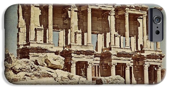Ephesus iPhone Cases - The Library at Ephesus  iPhone Case by Emily Enz