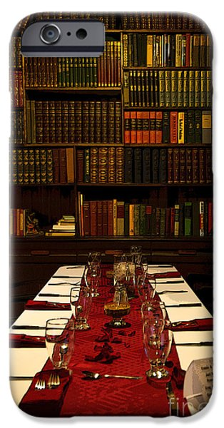 Table Wine iPhone Cases - The Library at Joes iPhone Case by Al Bourassa