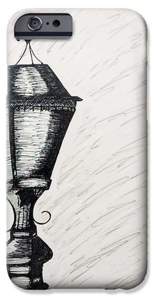 Night Lamp Drawings iPhone Cases - The Light is Out iPhone Case by Karin Celeste