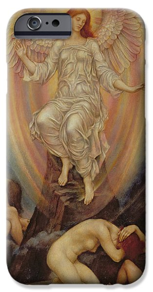 Pre-raphaelites iPhone Cases - The Light Shineth in Darkness and the Darkness Comprehendeth It Not iPhone Case by Evelyn De Morgan